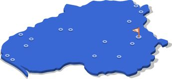 3d isometric view map of Lithuania with blue surface and cities. Isolated, white background Royalty Free Stock Photos