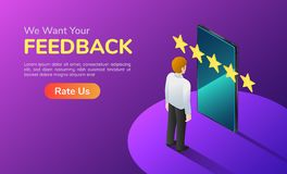 Isometric banner businessman with phone and five star feedback vector illustration