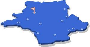 3d isometric widoku mapa Francja z błękitów miastami i powierzchnią odosobniony, biały tło royalty ilustracja