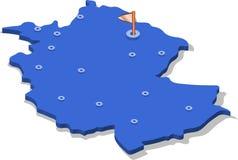3d isometric widoku mapa Niemcy z błękitów miastami i powierzchnią odosobniony, biały tło ilustracji
