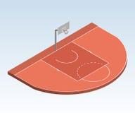 3D isometrisch basketbalhof, het three-point gebied van het gebiedsdoel Stock Afbeeldingen