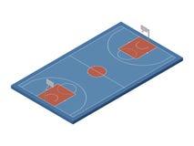 3D isometrisch basketbalhof, vector geïsoleerd ontwerpelement Stock Fotografie