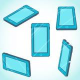 3d isometrisch mobiel telefoonontwerp in vlakke stijl Stock Afbeelding