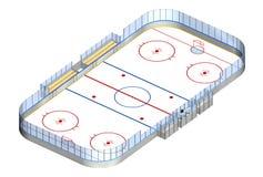 3D isometrisch van de ijshockeypiste Stock Foto