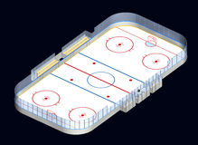 3D isometrisch van de ijshockeypiste Stock Afbeeldingen