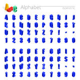3d isometrische alfabet vectordoopvont Isometrische letters, getallen en symbolen Driedimensionele voorraad vectortypografie voor Stock Afbeelding