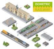 3d isometrische die Station en stadselementen van de kaartaannemer op wit worden geïsoleerd Bouw uw eigen spoorweg infographic in stock illustratie