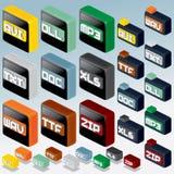3D Isometrische Dossiertype Pictogrammen. Vectorreeks Stock Foto