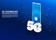 3D isometrische 5G en mobiele telefoon met cpu-pictogram royalty-vrije illustratie