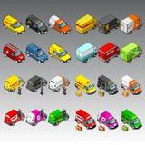 3d isometrische geplaatste auto's Stock Afbeelding