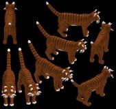 3d isometrische gestreepte katkat Stock Afbeelding