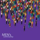 3d isometrische illustratie van mannelijke gemeenschap met een menigte van kerels en mensen stedelijk levensstijlconcept Stock Afbeeldingen