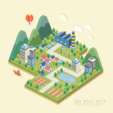3d isometrische infographic met mooie stad Royalty-vrije Stock Afbeelding