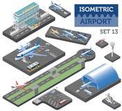 3d isometrische luchthaven en stads geïsoleerde elementen van de kaartaannemer royalty-vrije illustratie