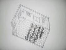 3D isometrische mening van een klaslokaal Stock Afbeelding