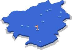 3d isometrische meningskaart van Andorra met blauwe oppervlakte en steden geïsoleerde, witte achtergrond vector illustratie