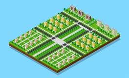 3D isometrische stad Royalty-vrije Stock Afbeelding