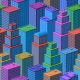 3D isometrische Stadt, nahtloser Hintergrund Lizenzfreies Stockfoto