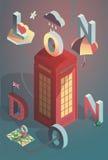 3d isometrische vector de stadsaffiche van Londen Royalty-vrije Stock Fotografie