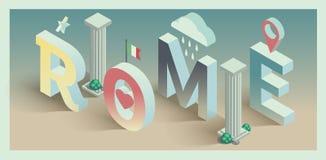 3d isometrische vectorprentbriefkaar van Rome Royalty-vrije Stock Foto