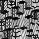 3D isometrisk stad, sömlös bakgrund Arkivbild