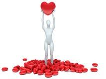 3d istota ludzka w miłości z 3d czerwieni sercem Zdjęcie Stock