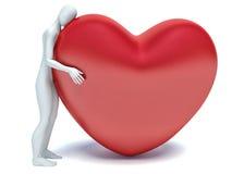 3d istota ludzka w miłości z 3d czerwieni sercem Obrazy Royalty Free