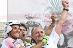 d'Italia van de giro: Ivan Basso met zijn sportdirecteur Royalty-vrije Stock Foto's