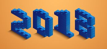3d izometric number of new year. 3d izometric number 2018 from constructor bricks Royalty Free Stock Photography