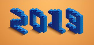 3d izometric number of new year from lego bricks. 3d izometric number 2019 from constructor bricks. 3d blue izometric number of new year from lego bricks on royalty free illustration