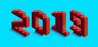3d izometric number of new year from lego bricks. 3d izometric number 2019 from constructor bricks. 3d red izometric number of new year from lego bricks on blue vector illustration