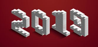 3d izometric number of new year from lego bricks. 3d izometric number 2019 from constructor bricks. 3d white izometric number of new year from lego bricks on red stock illustration