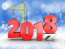 3d jaar van 2018 met kraan Royalty-vrije Stock Afbeeldingen