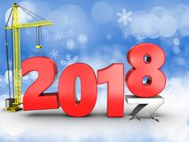 3d jaar van 2018 met kraan Stock Foto's