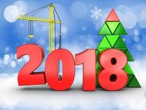 3d jaar van 2018 met kraan Stock Fotografie