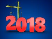 3d jaar van 2018 met kraan Royalty-vrije Stock Afbeelding