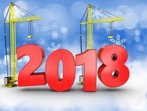 3d jaar van 2018 met kraan Royalty-vrije Stock Foto's