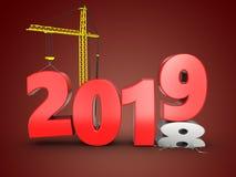3d jaar van 2019 met kraan Stock Afbeeldingen