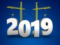 3d jaar van 2019 met kraan Stock Foto
