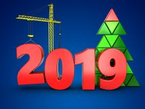 3d jaar van 2019 met kraan Royalty-vrije Stock Afbeelding