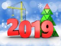 3d jaar van 2019 met kraan Stock Afbeelding