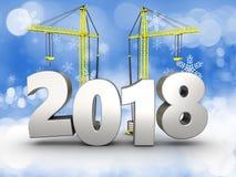 3d jaar van 2018 met kraan Royalty-vrije Stock Fotografie