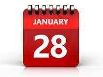 3d 28 januari-kalender Royalty-vrije Stock Afbeelding