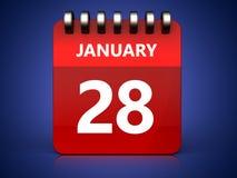 3d 28 januari-kalender Royalty-vrije Stock Foto's