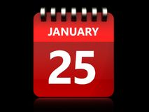 3d 25 january calendar. 3d illustration of january 25 calendar over black background Stock Photography