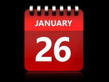 3d 26 january calendar. 3d illustration of january 26 calendar over black background Royalty Free Stock Photo