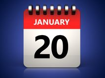 3d 20 january calendar. 3d illustration of 20 january calendar over blue background Stock Image