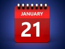 3d 21 january calendar. 3d illustration of january 21 calendar over blue background vector illustration