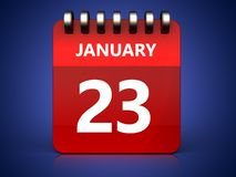 3d 23 january calendar. 3d illustration of january 23 calendar over blue background Royalty Free Stock Photo