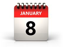 3d 8 january calendar. 3d illustration of 8 january calendar over white background Royalty Free Stock Photo